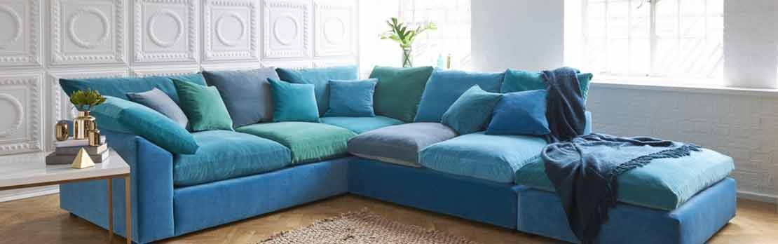 Blue Corner Sofa in country home