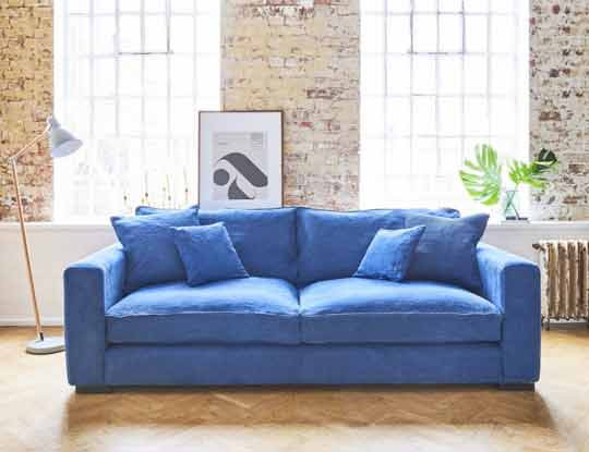 Blue fabric sofa in home